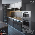 صحنه آماده طراحی آشپزخانه کلاسیک و مدرن