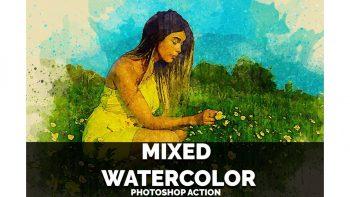 اکشن نقاشی آبرنگ فتوشاپ – Mixed Watercolor Photoshop Action