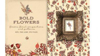 دانلود کلیپ آرت و پترن گل Bold Flowers