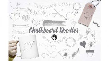 دانلود وکتور فانتزی مدادی Chalkboard Doodles illustration pack