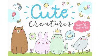 دانلود پترن و وکتور کارتونی و فانتزی Cute Creatures Vector Set