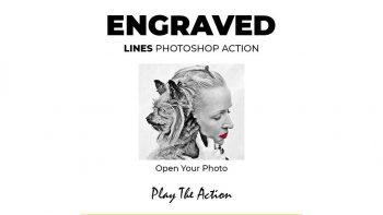اکشن نقاشی با خط و نقطه در فتوشاپ – Engraved Lines Photoshop Action