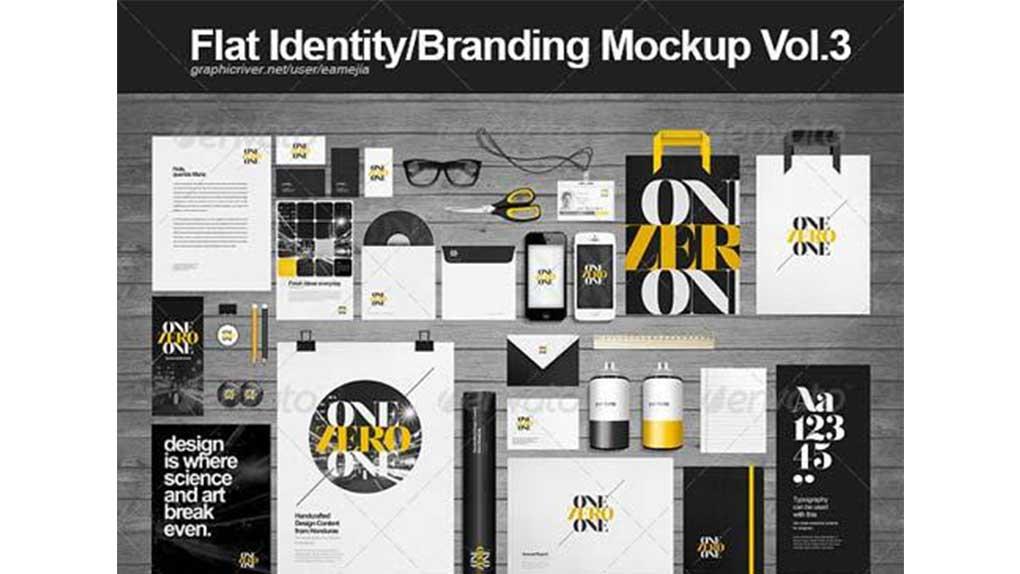 دانلود موکاپ ست اداری Flat Identity/ Branding Mockup