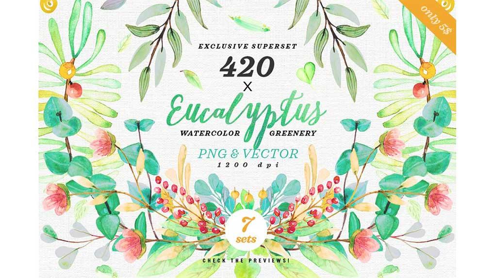 دانلود کلیپ آرت گل و گیاه آبرنگی Greenery Watercolor Eucalyptus 3