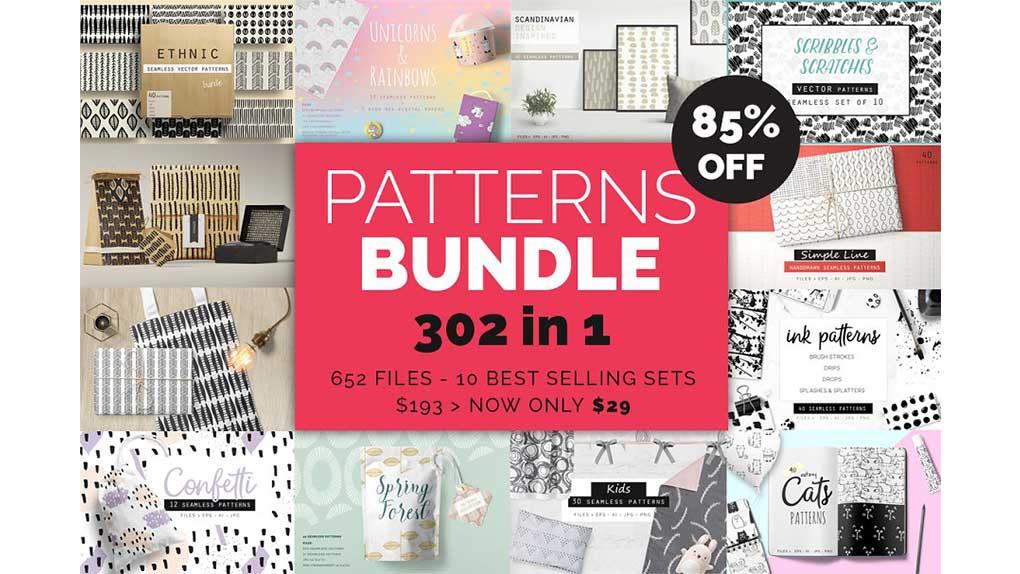 دانلود پترن با طرح دستی Handdrawn Patterns Bundle