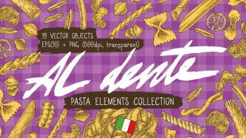 دانلود وکتور پاستا Pasta Elements Collection