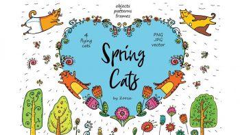 دانلود وکتور گربه کارتونی Spring Cats – 42 objects