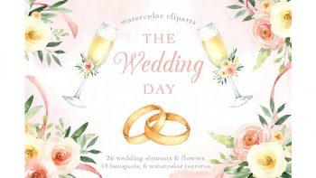 دانلود کلیپ آرت روز عروسی The Wedding Day Watercolor Clip Art