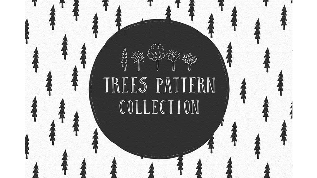 دانلود پترن درخت با طرح مدادی Trees Pattern Collection