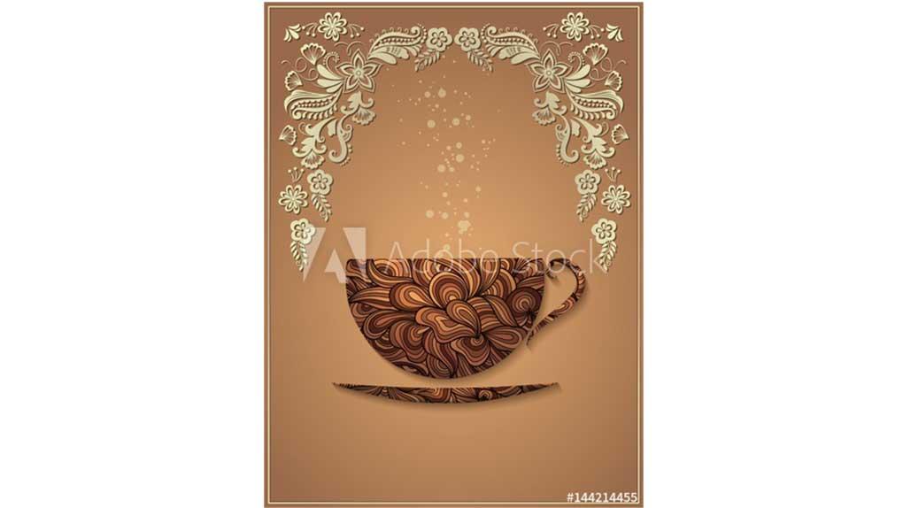دانلود بک گراند قهوه با پترن گل Vector coffee background with floral pattern