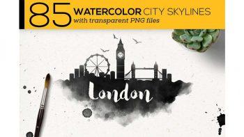 دانلود وکتور شهرهای مشهور جهان Watercolor City Skylines