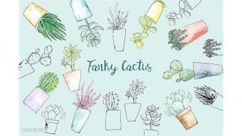 دانلود وکتور کاکتوس آبرنگی Watercolor Funky Cactus Vector