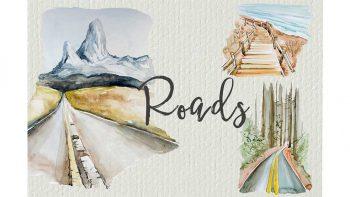 دانلود کلیپ آرت آبرنگی جاده Watercolor Roads Clipart Set