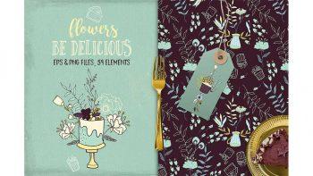دانلود وکتور گل و شیرینی Be Delicious Flowers