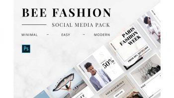 دانلود فایل لایه باز بنر شبکه های اجتماعی Bee Fashion Social Media Pack