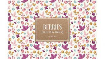 دانلود پترن و وکتور توت فرنگی Berries illustrations