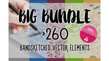 دانلود وکتور با طراحی دستی BIG BUNDLE 260 Handsketched Vectors