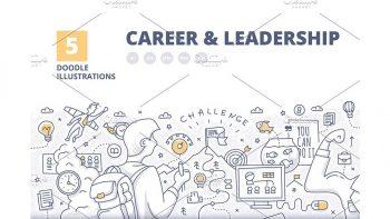 دانلود فایل لایه باز بنر کار و تجارت Career & Leadership Illustrated Co