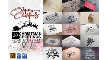 دانلود وکتور لوگو کریسمس Christmas Greetings Logo & Badges V2