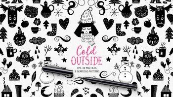 دانلود وکتور زمستانی Cold Outside – winters vectors