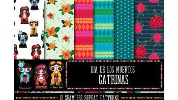 دانلود تکسچر پارچه Dia de los Muertos: Catrinas