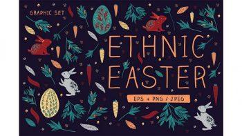دانلود وکتور گرافیکی عید پاک Ethnic Easter Graphic Set