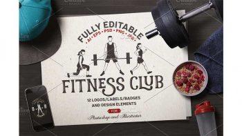 دانلود فایل لایه باز لوگو باشگاه ورزشی Fitness Club