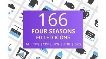 دانلود آیکون فصل های سال Four Seasons Filled Icons