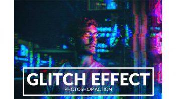 دانلود اکشن افکت نویز و پارازیت Glitch Effect Photoshop Action