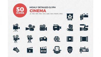 دانلود آیکون سینمایی Glyph Icons Cinema Set