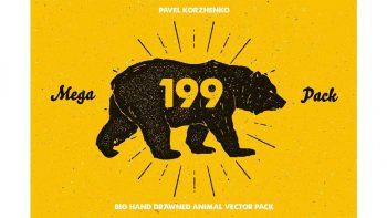 دانلود وکتور حیوانات با طراحی دستی Hand Drawn Animal Pack