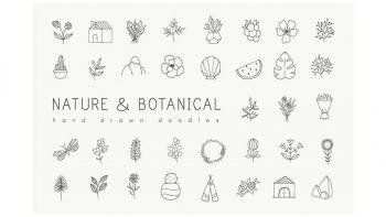 دانلود وکتور گل و گیاه Hand drawn nature & plants doodles