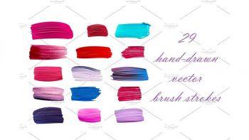 دانلود وکتور خطوط رنگی با طراحی دستی Hand-drawn vector brush strokes