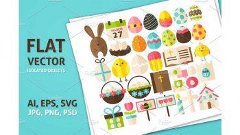 دانلود وکتور و آبجکت عید پاک Happy Easter Vector Isolated Objects