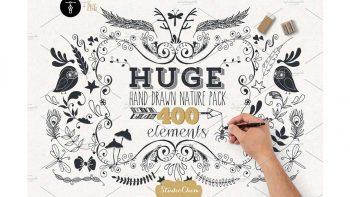 دانلود وکتور طبیعت با طراحی دستی HUGE Hand drawn Nature Pack