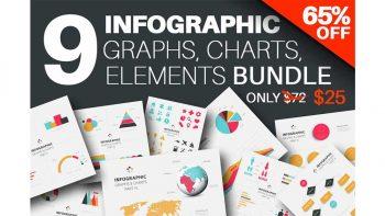 دانلود وکتور تصاویر اینفوگرافیک Infographics Graphs & Charts Bundle