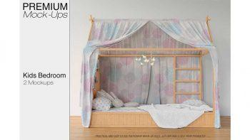 دانلود موکاپ تخت خواب کودک Kids Bedroom Mockup Set