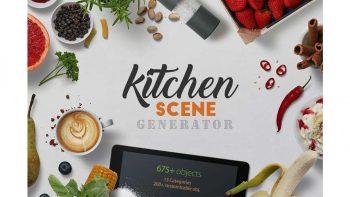 دانلود موکاپ لوازم آشپزخانه Kitchen Scene Generator