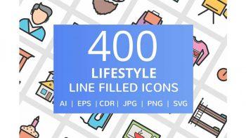 دانلود آیکون خطی سبک زندگی Lifestyle Filled Line Icons