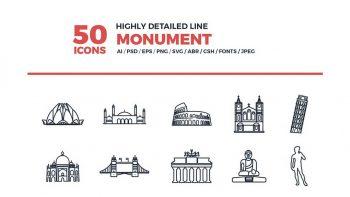 دانلود آیکون بناهای تاریخی Line Icons Monument Set