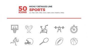 دانلود آیکون خطی ورزشی Line Icons Sports Set