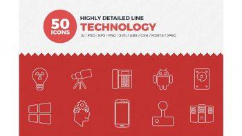 دانلود آیکون خطی تکنولوژی Line Icons Technology Set