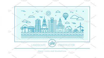 دانلود وکتور شهری با طراحی محیطی Linear city constructor