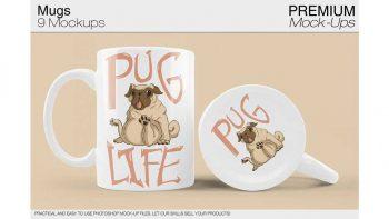 دانلود موکاپ ماگ Mug Mockups 9 PSD JPG PNG Variants