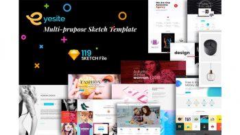 دانلود فایل لایه باز وب سایت Multi-Prupose Sketch Template UI Kit