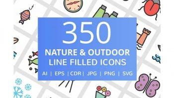 دانلود آیکون با موضوع طبیعت و فضای باز Nature & Outdoor Filled Icons