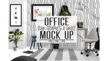 دانلود موکاپ دفتر کار Office Rug, Wall & Frames Mock Up