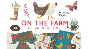 دانلود پترن و کلیپ آرت مزرعه On The Farm Clipart & Digital Paper