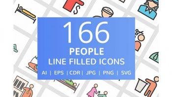 دانلود آیکون خطی انسان People Filled Line Icons