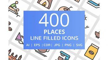 دانلود آیکون خطی اماکن مختلف Places Filled Line Icons